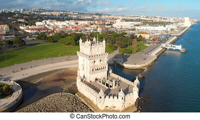 4k Aerial drone view of Belem Tower in Lisbon Portugal with ...