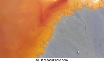 4k Aerial drone view of contaminated water with cyanide...