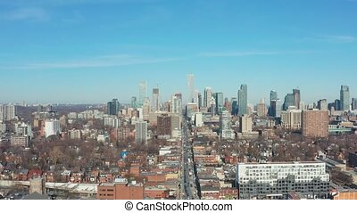 4K Aerial Establishing shot of a Downtown Toronto Neighborhood.
