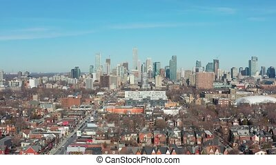 4K Aerial Establishing shot of a Downtown Toronto...
