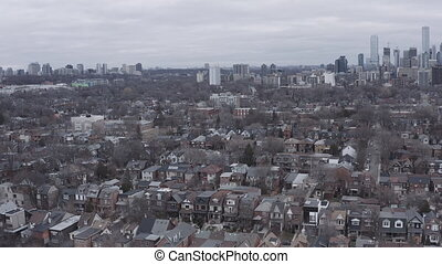 4K Aerial Establishing Shot of a Neighbourhood in Toronto,...
