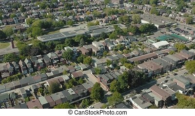 4K Aerial Establishing shot of a Toronto neighborhood. Cinematic shot.
