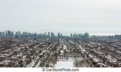 4K Aerial Establishing shot of a Toronto neighborhood during...