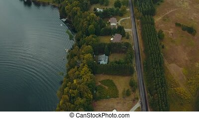 4K Aerial Establishing Shot of Cottage Country. Cinematic...