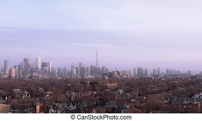4K Aerial Establishing Shot of Toronto, Ontario. (All logos...