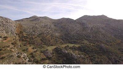 4K Aerial, Flight along mountains