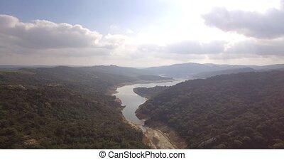4K Aerial, Flight over barrier lake