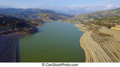 4K Aerial, Flight over barrier lake in Andalusia, Spain -...
