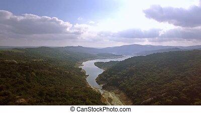 4K Aerial, Flights over barrier lake in Spain, Embalse De Guadarranque, Andalusia