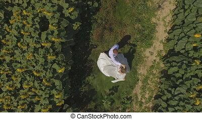 4K aerial footage Groom and bride walking in a field full of...