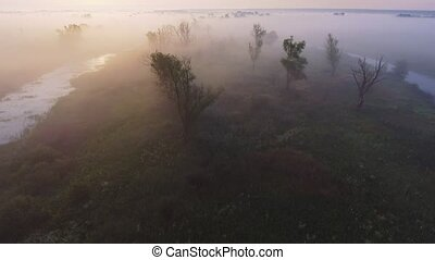 4K Aerial footage video of foggy morning. Flying over the...