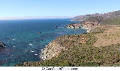 4K Aerial of California's Big Sur Coastline During Sunset