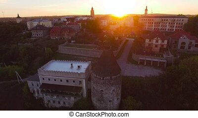 4K aerial shot of  Castle at sunset castle and one of the largest castles in Europe