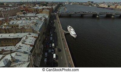 4k aerial shot of Saint-Petersburg embankment
