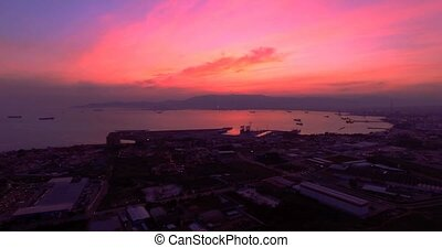 4K Aerial, Sunset and night flight near Gibraltar, Spain