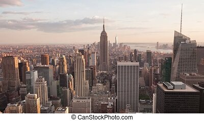 4K Aerial timelaspe of Manhattan - 4K Aerial Sunset...