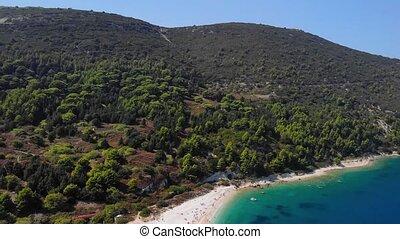 4k aerial view of sea coastline in tropical island.