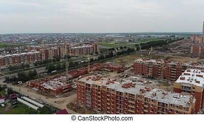 4k Aerial view of the city. Residential buildings and...