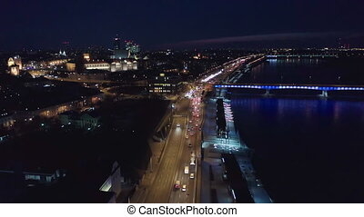 Aerial view of the Old city night Warsaw with the square and...