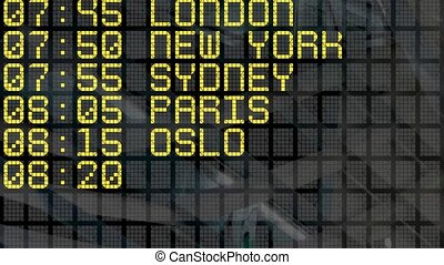 4K - Airport Departure Board - Close-up of an international...