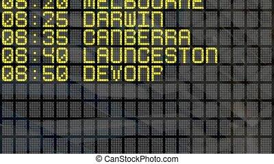 4K - Airport Departure Board with Australian destinations