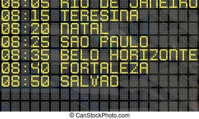 4K - Airport Departure Board with Brazilian destinations