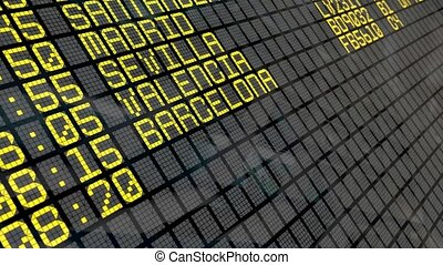 4K - Airport Departure Board with Spanish destinations