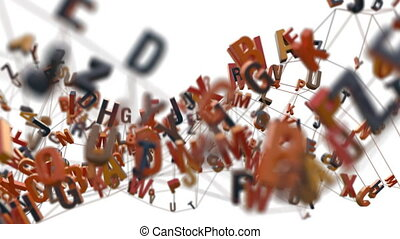 4K Alphabet Letters. 3D Animation. Seamless Looping