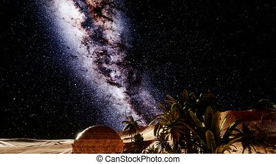 4K Ancient Roman time town in desert and Milky Way stars....