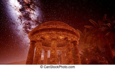 4K Ancient Roman time town in desert