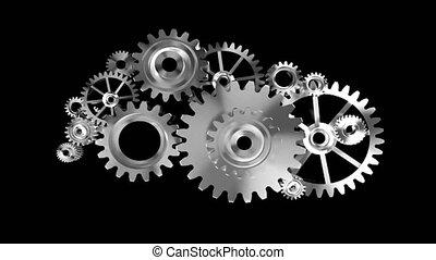 4k, animação, 3d, prata, metal, rotação, mecânico, roda, engrenagem, ligado, costas, fundo, com, alfa, matte