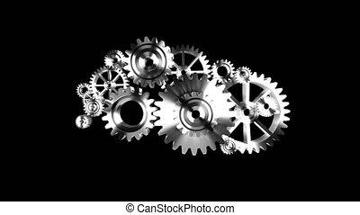 4k, animação, 3d, prata, metal, rotação, mecânico, roda, engrenagem, ligado, experiência preta, com, alfa, matte