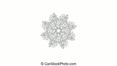 4K Animated circle black and white magic and occult mandala pattern drawing. Artistic hand drawn graphic video clip.