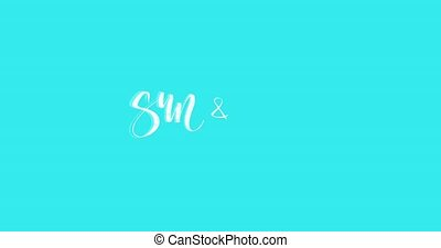 4K Animated texured summer lettering inscription on bright...