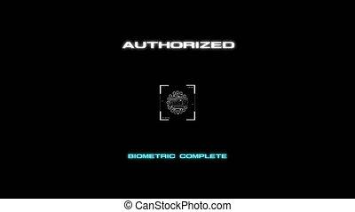 4k, animatie, van, login, interface, vinger, scanderen, voor, machtiging, en, toegang, op, donkere achtergrond, voor, cyber, futuristisch, concept, met, boon, verwerkt