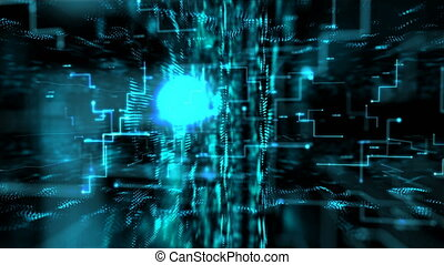 4K Animation 3D abstract dark background moving dot and line metaphor cyber futuristic data transfer network connection concept with grain processed