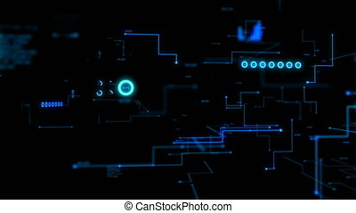 4K Animation 3D abstract dark background moving graph bar infographic dot and line metaphor cyber futuristic data transfer network connection concept