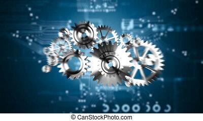 4K Animation 3D silver metal rotation mechanic wheel gear on circuit futuristic binary digi drop wall dark background