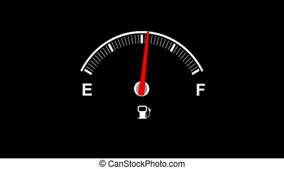 4K Animation Car Fuel Dashboard moving up and down pin needle fuel full and empty with alpha channel
