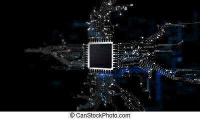 4K animation Chip set cpu controller and print circuit with...