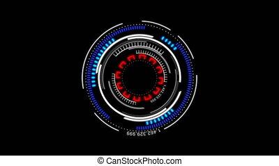 4K Animation circle rotation HUD Head up display interface...