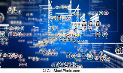 4K Animation Connection people flight Abstract background