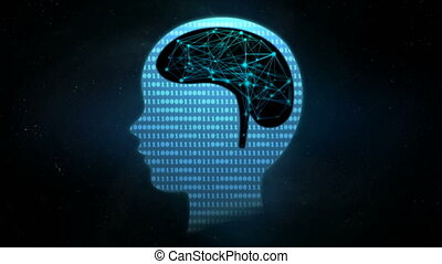 4K animation dot lighting with connection line human brain