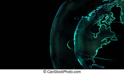 4K Animation Globe with dot world map element spin on dark and black background