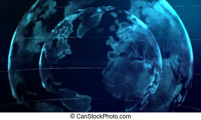 4K Animation Globe with dot world map element spin on dark blue background