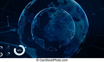 4K Animation Globe with dot world map HUD and infographic graph bar element spin on dark background
