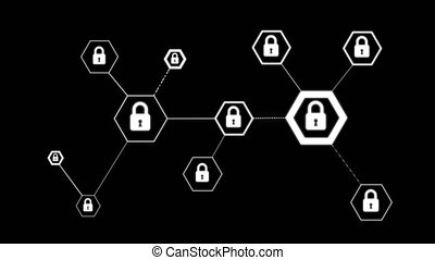 4K Animation hexagon shape with lock icon for network...