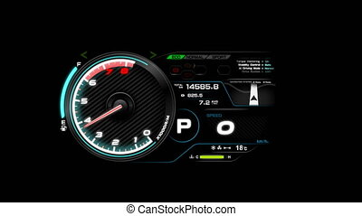 4K Animation of car dashboard speed rpm meter and automobile icon