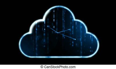 4K Animation of cloud icon with dot connetion line and binary number falling for computer network big data cyber technology futuristic concept
