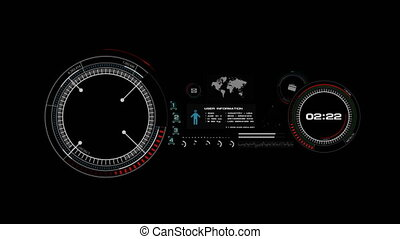 4K Animation of HUD head up display interface on with icon graph loading bar element for futuristic cyber technology concept